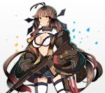 1girl absurdres antenna_hair bag baggy_clothes bangs battle_rifle black_ribbon black_skirt blazer blush bra breasts brown_hair brown_jacket closed_mouth coat cowboy_shot girls_frontline gradient_hair gun hair_ribbon highres holding holding_gun holding_weapon jacket light_particles lingerie long_hair looking_at_viewer lsheng m14 m14_(girls_frontline) medium_breasts mod3_(girls_frontline) multicolored_hair navel neck_ribbon off_shoulder open_clothes open_coat pleated_skirt pouch red_hair ribbon rifle shirt shoes sidelocks skindentation skirt sleeves_past_wrists smile solo stomach thigh_strap thighhighs transparent_background twintails two-tone_hair underwear very_long_hair weapon white_bra white_legwear yellow_eyes zettai_ryouiki