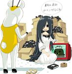 black_eyes black_hair box cardboard_box chidejika fujitama_(pixiv33059) hair_over_one_eye long_hair nab pedobear tape television the_ring translation_request very_long_hair vhs videocasette yamamura_sadako
