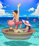 2girls 4boys ^_^ antlers arm_on_head arm_up back ball bare_arms bare_legs bare_shoulders barefoot_sandals beachball bikini black_hair blonde_hair blue_sky boat closed_eyes closed_mouth day eyes_closed flower friends furry green_hair hair_flower hair_ornament hair_over_one_eye hat height_difference highres holding_beachball horizon kneeling long_hair looking_at_another male_swimwear monkey_d_luffy multiple_boys multiple_girls nami_(one_piece) nico_robin ocean one_piece open_mouth orange_hair outdoors outstretched_arm partially_submerged rizec rope roronoa_zoro rose sandals sanji shirt shirtless short_hair shoulder_tattoo sidelocks sitting sky sleeveless sleeveless_shirt smile standing stomach straw_hat sun_hat swim_trunks swimming swimsuit swimwear tattoo toes tony_tony_chopper water watercraft yellow_shirt