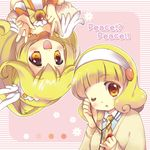 blonde_hair bow bowtie brooch cardigan chibitan choker cure_peace double_v dual_persona flower hair_flaps hairband headphones highres jewelry kise_yayoi long_hair necktie one_eye_closed orange_choker orange_neckwear pink_background precure rotational_symmetry short_hair smile smile_precure! upside-down v white_hairband yellow_bow yellow_eyes yellow_neckwear