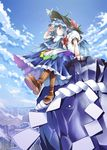 1girl blue_hair bow butterfly cloud female food frills fruit hat highres hinanawi_tenshi keystone koinohito leaf long_hair peach red_eyes rock rope short_sleeves sky solo torisuke_(koinohito) touhou very_long_hair