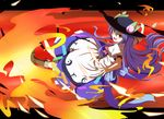 1girl blue_hair bow cross-laced_footwear daba female fire food fruit hat highres hinanawi_tenshi leaf long_hair long_skirt open_mouth peach red_eyes short_sleeves skirt solo sword_of_hisou touhou very_long_hair