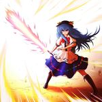 1girl bad_id blue_hair bow cross-laced_footwear female food frills fruit hat highres hinanawi_tenshi jiaa_(pochidogrush) leaf long_hair long_skirt looking_at_viewer peach purple_eyes short_sleeves simple_background skirt solo sword sword_of_hisou touhou very_long_hair weapon ziaaazi