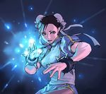 1girl aian black_hair blue bracelet capcom chinese_clothes chun-li double_bun gif_artifacts glowing jewelry open_mouth pantyhose pelvic_curtain puffy_sleeves short_sleeves solo spiked_bracelet spikes street_fighter