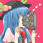 1girl batta_(ijigen_debris) blue_hair bow female food frills fruit hat hinanawi_tenshi in_the_face keystone leaf long_hair pain peach rickenbatta330 rock rope short_sleeves simple_background solo touhou