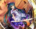 1girl bow dai55593 dikko female food frills fruit hat hinanawi_tenshi leaf long_hair long_skirt open_mouth peach red_eyes short_sleeves skirt solo sword sword_of_hisou touhou very_long_hair weapon