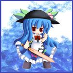 1girl blue_hair blush bow chibi cocozasa female food frills fruit hat hinanawi_tenshi leaf long_hair open_mouth peach red_eyes short_sleeves solo sword sword_of_hisou touhou very_long_hair weapon