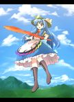1girl asyura7 blue_hair bow cloud cross-laced_footwear d: female food frills fruit hat hill hinanawi_tenshi leaf letterboxed long_hair long_skirt mountain open_mouth peach red_eyes short_sleeves skirt sky solo sword sword_of_hisou touhou very_long_hair weapon