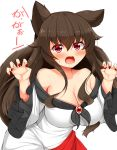 1girl animal_ears bare_shoulders breasts brooch brown_hair claw_pose cleavage commentary_request dress fingernails highres imaizumi_kagerou jewelry large_breasts leaning_forward multicolored multicolored_clothes multicolored_dress nail_polish off-shoulder_dress off_shoulder red_dress red_eyes red_nails sharp_fingernails simple_background solo tokoya_(ex-hetare) touhou translation_request white_background white_dress wolf_ears