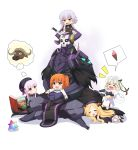 >_< 1boy 5girls :d abigail_williams_(fate/grand_order) absurdres agung_syaeful_anwar armor bangs bare_shoulders bell beret bikini_top black_bikini_top black_bow black_cloak black_dress black_footwear black_gloves black_hat blonde_hair blush book bow braid brown_eyes brown_hair bull capelet chaldea_uniform commentary dress elbow_gloves english_commentary eyebrows_visible_through_hair eyes_closed fate/extra fate/grand_order fate_(series) food forehead fujimaru_ritsuka_(male) gloves glowing glowing_eyes gothic_lolita green_bow green_eyes green_ribbon hair_bow hat headpiece highres ice_cream ice_cream_cone jack_the_ripper_(fate/apocrypha) jacket jeanne_d'arc_(fate)_(all) jeanne_d'arc_alter_santa_lily king_hassan_(fate/grand_order) knife_in_head legs_crossed lolita_fashion long_hair low_twintails lying multiple_girls nursery_rhyme_(fate/extra) on_lap on_stomach one_side_up open_book open_mouth orange_bow parted_bangs pink_hair ribbon saint_quartz shirt shoe_soles shoes shoulder_tattoo silver_hair skull sleeping sleeveless sleeveless_shirt smile soft_serve spikes spoken_object striped striped_bow striped_ribbon tattoo twin_braids twintails uniform very_long_hair wavy_mouth white_background white_capelet white_dress white_jacket