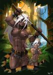 2012 abs animal_ears animal_tail belt breasts cat_ears cat_tail catgirl chain eye_patch eyewear fangs female jungle male mother muscles muscular_female nipples skimpy son stripes sword warrior water waterfall weapon werecat