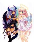 absurdres angel angel_and_devil angel_wings aqua_eyes bare_shoulders black_legwear blue_hair blush boots breasts carnelian cleavage dark_skin demon_girl demon_horns demon_wings detached_sleeves dress flower halo halter_top halterneck highres horns interlocked_fingers knee_boots long_hair looking_at_viewer multiple_girls navel original parted_lips pink_hair pointy_ears purple_eyes ribbon scan short_shorts shorts smile succubus thigh_ribbon thighhighs white_dress wings