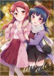 2018 2girls :d animal_hat bag bangs beret black_legwear black_skirt blue_hair blurry blush bokeh brown_hat cat_bag cat_hat clenched_hands commentary_request cover cover_page depth_of_field doujin_cover fur_collar grey_scarf hair_ornament hairclip half_updo hands_up hat hazuki_(sutasuta) highres holding_another's_arm holding_strap long_hair looking_at_viewer love_live! love_live!_sunshine!! multiple_girls open_mouth pantyhose pink_coat purple_coat red_hair red_shirt red_skirt sakurauchi_riko scarf shirt shoulder_bag side_bun skirt smile thighhighs tsushima_yoshiko turtleneck white_shirt winter_clothes
