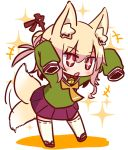 +_+ 1girl afterimage animal_ear_fluff animal_ears arms_up bangs bell bell_collar blonde_hair blush brown_collar collar eyebrows_visible_through_hair fox_ears fox_girl fox_tail full_body green_shirt hair_between_eyes hair_bun hair_ornament jingle_bell kemomimi-chan_(naga_u) long_sleeves naga_u orange_neckwear original parted_lips pleated_skirt purple_skirt red_eyes red_footwear ribbon-trimmed_legwear ribbon_trim shadow shirt sidelocks skirt sleeves_past_fingers sleeves_past_wrists solo sparkle standing tail tail_wagging thighhighs white_background white_legwear