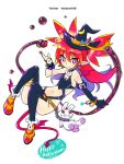 alternate_costume alternate_hairstyle asymmetrical_gloves bracelet chains demon_girl demon_tail demon_wings disgaea earrings etna flat_chest gloves halloween hat hekaton highres jewelry long_hair moon_(ornament) pointy_ears red_eyes red_hair smile stuffed_toy tail thighhighs wings witch_hat
