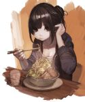 1girl absurdres adjusting_hair bangs black_eyes black_hair black_jacket bowl breasts chair cheek_bulge chopsticks cleavage closed_mouth collarbone commentary_request cup drinking_glass earrings food grey_shirt hair_bun hand_in_hair hand_up hashimoto_kokai highres holding holding_chopsticks jacket jewelry long_hair long_sleeves meat medium_breasts noodles open_clothes open_jacket original plate ramen shirt sitting sketch smile solo stud_earrings table upper_body