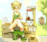 caramel cat catstrofic clothing cloud coconut cream cub eyes feline grass honey ice_cubes invalid_tag looking_at_viewer male mammal marmalade mint mouth nose penis raccoon shoes shorts solo spoon sun tree uncut wood young