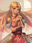 1girl arm_across_waist artist_name bellhenge belt blonde_hair bracer circlet dress earrings finger_to_cheek gold green_eyes jewelry light_blush long_hair looking_at_viewer necklace nintendo pointy_ears pose princess_zelda shoulder_armor smile solo super_smash_bros. super_smash_bros._ultimate the_legend_of_zelda the_legend_of_zelda:_a_link_between_worlds upper_body very_long_hair