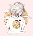 1girl blush crisalys cropped_torso egasumi eyes_closed heart hole hole_in_chest leaf lips looking_to_the_side medium_hair original pink_background plant shirt short_sleeves simple_background solo traditional_media upper_body white_hair white_shirt