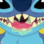 2018 alien black_eyes blue_fur blue_nose chest_tuft close-up digital_drawing_(artwork) digital_media_(artwork) disney experiment_(species) front_view fur hi_res leonheart54115 lilo_and_stitch looking_at_viewer mouth_shot open_mouth open_smile saliva smile solo stitch tongue tongue_out tuft
