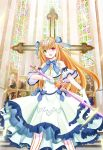 1girl :o bebemoko blue_bow blue_neckwear bow church cross cross_hair_ornament cross_necklace crown detached_sleeves dress gloves green_eyes hair_bow hair_ornament heterochromia highres holding holding_sword holding_weapon indoors jewelry long_hair looking_at_viewer necklace red_eyes short_sleeves solo solo_focus stained_glass standing striped striped_legwear sword vertical-striped_legwear vertical_stripes very_long_hair weapon white_dress white_gloves white_legwear