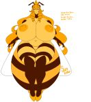animal_humanoid arthropod bee bee_humanoid big_breasts breasts female hi_res huge_breasts humanoid insect insect_humanoid looking_at_viewer nipples overweight overweight_female simple_background solo sunlover611 white_background