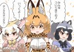 3boys 3girls :3 :d animal_ear_fluff animal_ears blush bow bowtie breast_pocket breasts brown_eyes common_raccoon_(kemono_friends) elbow_gloves eyebrows_visible_through_hair fang fennec_(kemono_friends) fox_ears gloves grey_hair high-waist_skirt interlocked_fingers kemono_friends large_breasts multicolored_hair multiple_boys multiple_girls open_mouth orange_neckwear orange_skirt pink_shirt pocket puffy_short_sleeves puffy_sleeves raccoon_ears serval_(kemono_friends) serval_ears serval_print serval_tail shirt short_hair short_sleeves simple_background skirt smile tail tanaka_kusao translation_request white_background yellow_neckwear
