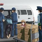 1girl 4boys arrest balaclava barefoot beidan blue_eyes blue_pants blue_shirt box boxes brown_hair cardboard_box carrot cart child copyright_request cute dragging facing_away girl_in_a_box hands_on_knees hands_on_own_knees hat in_box in_container knees_to_chest loli_in_a_box long_hair long_sleeves looking_at_viewer motor_vehicle multiple_boys pants peaked_cap police police_hat police_uniform shirt short_sleeves ski_mask t-shirt translation_request uniform van vehicle vest what