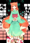 1girl animal_ear_fluff animal_ears bangs blue_kimono blush closed_mouth commentary_request commission copyright_request floral_background flower fox_ears fox_tail full_body highres holding japanese_clothes kimono long_sleeves looking_at_viewer medium_hair multiple_tails obi orange_eyes orange_hair peachpii sandals sash smile solo standing tail toenails white_flower wide_sleeves
