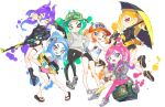 ass ass_visible_through_thighs asymmetrical_hair beanie bike_shorts blonde_hair blue_eyes blue_hair blush boots eyes_visible_through_hair fake_horns fangs gluteal_fold green_hair hat hero_charger_(splatoon) hero_shot_(splatoon) highres holding holding_weapon hood hoodie horns jacket jtveemo long_hair looking_at_viewer medium_hair multiple_girls nintendo octoling one_eye_closed open_mouth orange_hair pants pink_hair purple_hair red_eyes sandals shoes short_shorts shorts simple_background sitting slosher_(splatoon) smile sneakers splat_brella_(splatoon) splat_dualies_(splatoon) splatoon splatoon_(series) splatoon_2 splattershot_(splatoon) suction_cups sweater tank_top thigh_gap tight tight_pants umbrella undershirt weapon white_background yellow_eyes