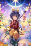 1girl ;) animal aqua_eyes bangs bow bubble closed_mouth eiko_carol final_fantasy final_fantasy_ix finger_to_mouth flower garnet_til_alexandros_xvii grass hair_bow holding holding_staff horn index_finger_raised looking_at_viewer mini_wings one_eye_closed orange_flower purple_hair sasanomesi sheep short_hair sitting smile solo staff white_flower white_wings wings yellow_bow yellow_flower zidane_tribal