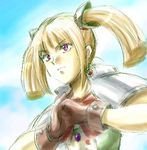 1girl blonde_hair brown_gloves chrono_(series) chrono_cross clenched_hands earrings expressionless fighting_stance gloves jewelry looking_afar lowres orlha short_sleeves sidelocks solo twintails upper_body