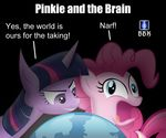 derp duo earth english_text equine female feral friendship_is_magic fur globe horn horse humor mammal my_little_pony narf parody pink_fur pinkie pinkie_and_the_brain pinkie_pie_(mlp) pinky pinky_and_the_brain pony pun text the_brain the_world twilight_sparkle_(mlp) unicorn world