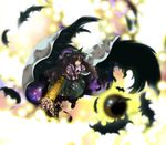 1girl arm_cannon black_wings blurry brooch depth_of_field feathers female full_body gem highres jewelry kita long_hair looking_at_viewer puffy_short_sleeves puffy_sleeves reiuji_utsuho short_sleeves simple_background solo third_eye touhou very_long_hair weapon white_background wings