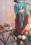 1girl aqua_eyes aqua_hair between_legs blush cake commentary cup digital_media_player drinking_straw food fork hair_ornament hand_between_legs hatsune_miku head_tilt headphones highres knees_together long_hair plate sitting smile solo takepon1123 twintails very_long_hair vocaloid