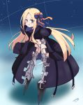 1girl :q abigail_williams_(fate/grand_order) bangs black_jacket blonde_hair blue_bow blue_eyes blush bow closed_mouth commentary_request cosplay crotch_plate eyebrows_visible_through_hair eyes_visible_through_hair fate/extra fate/extra_ccc fate/grand_order fate_(series) forehead full_body hair_bow highres jacket juliet_sleeves kujou_karasuma long_hair long_sleeves looking_at_viewer meltlilith meltlilith_(cosplay) navel orange_bow parted_bangs puffy_sleeves signature sleeves_past_fingers sleeves_past_wrists smile solo spikes standing tongue tongue_out v-shaped_eyebrows very_long_hair
