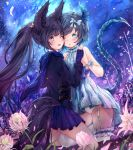 2girls absurdres animal_ears black_coat black_hair black_skirt blade_&_soul blue_dress blue_eyes blue_scarf bow cheek-to-cheek cloud coat commission dog_ears dog_tail dress fingerless_gloves flower garter_straps garters gloves grey_hair hair_bow hand_holding highres hmw_(pixiv7054584) knee_up legs long_hair lyn_(blade_&_soul) miniskirt multiple_girls night night_sky one_eye_closed open_mouth outdoors panties pantyshot pantyshot_(standing) ponytail purple_eyes ribbon scarf short_dress short_hair skirt sky sleeveless sleeveless_dress smile standing star_(sky) straddling tail thighhighs underwear very_long_hair white_legwear white_panties
