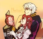 1boy 1girl ^_^ armor book chair cloak closed_eyes couple eyes_closed fire_emblem fire_emblem:_kakusei gloves heart husband_and_wife long_hair lovers my_unit my_unit_(fire_emblem:_kakusei) nintendo noctuart pillow red_eyes red_hair short_hair silver_hair simple_background smile tiamo very_long_hair watermark white_hair
