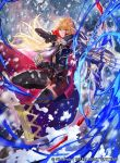 1girl armor arrow bangs blonde_hair boots bow_(weapon) cape closed_mouth company_connection copyright_name elbow_gloves fingerless_gloves fingernails fire_emblem fire_emblem:_monshou_no_nazo fire_emblem_cipher gloves holding holding_bow_(weapon) holding_weapon kuraine leg_up long_hair looking_at_viewer mayo_(becky2006) miniskirt nintendo official_art quiver simple_background skirt sleeveless thigh_boots thighhighs weapon zettai_ryouiki