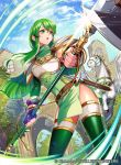1girl armor bangs belt bracelet breastplate cloud cloudy_sky company_connection copyright_name day elbow_gloves feathered_wings fingerless_gloves fingernails fire_emblem fire_emblem:_monshou_no_nazo fire_emblem_cipher gloves green_hair headband holding holding_weapon jewelry long_hair matsurika_youko nintendo official_art open_mouth outdoors paola pegasus polearm sheath sheathed shiny shiny_clothes shiny_hair shiny_skin shoulder_armor sidelocks sky spear sword thighhighs tree turtleneck weapon wings zettai_ryouiki