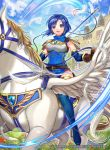 1girl armor bangs belt blue_eyes blue_hair blue_sky breastplate castle cloud cloudy_sky company_connection copyright_name day dress elbow_gloves feathered_wings feathers fingerless_gloves fire_emblem fire_emblem:_monshou_no_nazo fire_emblem_cipher gloves headband holding holding_weapon horseback_riding katua looking_at_viewer matsurika_youko nintendo official_art outdoors parted_lips pegasus pegasus_knight polearm rainbow riding shiny shiny_clothes shiny_hair shiny_skin short_dress short_hair shoulder_armor sky sleeveless smile spear thighhighs weapon wings