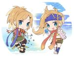 2girls :3 :d beads bikini_top blonde_hair blue_eyes boots bow braid chibi cloud dual_persona eyebrows_visible_through_hair final_fantasy final_fantasy_x final_fantasy_x-2 full_body gears green_shorts hair_beads hair_ornament hairclip kawasumi_(pixiv326156) long_hair looking_at_viewer motion_lines multiple_girls musical_note open_mouth pouch red_scarf rikku scarf screw shorts smile spring_(object) v-shaped_eyebrows white_bow yellow_bikini_top