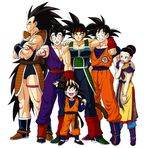 1girl 5boys :d alien armband armor bardock black_hair boots bream-tan brothers chichi clenched_hand clothes_writing collarbone crossed_arms dragon_ball dragon_ball_z dragonball_z epic family father father_and_son grandchild grandfather grandfather_and_grandson hand_on_head hand_on_shoulder headband highres husband_and_wife long_hair looking_at_viewer monkey_tail mother_and_son multiple_boys muscle open_mouth raditz scar siblings simple_background smile son son_gohan son_gokuu son_goten spiked_hair sweatdrop tail uncle_and_nephew white_background wristband