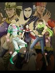 1girl 5boys alien battle_tendency black_hair blonde_hair boots brown_hair bubble caesar_anthonio_zeppeli cars_(jojo) earrings facial_mark green_jacket head_scarf headband highres hoop_earrings jacket jewelry jojo_no_kimyou_na_bouken joseph_joestar_(young) lisa_lisa manly midriff mother multiple_boys muscle pantyhose red_scarf santana_(jojo) scarf sleeveless son striped striped_scarf trio turban wamuu white_hair white_pants y_yuko