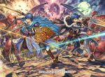 armor blue_eyes blue_hair commentary_request company_name copyright_name fire_emblem fire_emblem:_monshou_no_nazo fire_emblem_cipher gloves helmet holding holding_sword holding_weapon izuka_daisuke marth multiple_boys my_unit_(fire_emblem:_shin_monshou_no_nazo) nintendo official_art open_mouth short_hair sword weapon