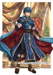 1boy armor blue_eyes blue_hair boots commentary_request company_name copyright_name fingerless_gloves fire_emblem fire_emblem:_monshou_no_nazo fire_emblem_cipher gloves holding holding_sword holding_weapon izuka_daisuke jewelry knee_boots marth nintendo official_art short_hair sword tiara weapon