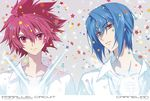 blue_hair carnelian looking_at_viewer multiple_boys open_mouth red_eyes red_hair shindou_sugata short_hair smile star star_driver tsunashi_takuto yellow_eyes