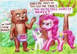 bear blue_eyes box candy cigar cub cutie_mark daoldhorse dialog english_text equine female feral friendship_is_magic group hair horn horse humor mammal my_little_pony pedobear pink_hair pinkie_pie_(mlp) pony smoking sweetie_belle_(mlp) text two_tone_hair unicorn young
