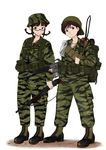 akizuki_ritsuko bag bandolier boonie_hat boots braid canteen car-15 cross explosive flashlight glasses grenade gun hat highres idolmaster ithaca_m37 jewelry komii military military_uniform neckerchief necklace plastic_bag radio shotgun smoke_grenade tiger_stripes twin_braids uniform vietnam weapon