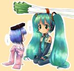 2girls aqua_hair bare_shoulders binchou-tan binchou-tan_(character) binchou-tan_(cosplay) black_legwear blue_eyes blue_hair blush bow coal cosplay crossover detached_sleeves eye_contact green_eyes hatsune_miku headset highres large_bow long_hair looking_at_another multiple_girls necktie object_on_head short_hair simple_background sitting spring_onion suppy tareme thighhighs translated twintails v_arms very_long_hair vocaloid wariza zettai_ryouiki